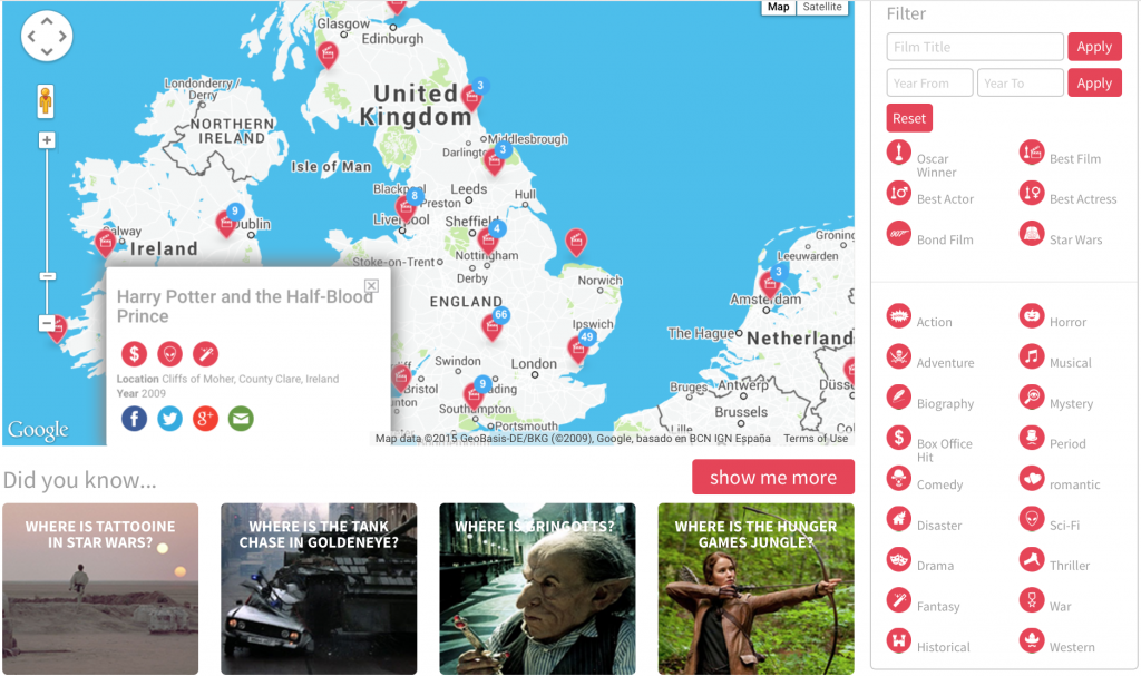 Map your favourite films